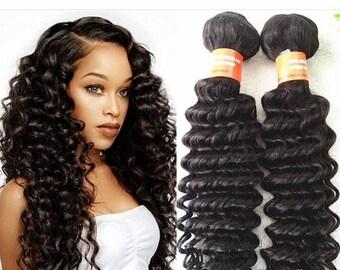Peruvian Virgin Human Hair Wefts Deep Wave 100g Colour 1b-2
