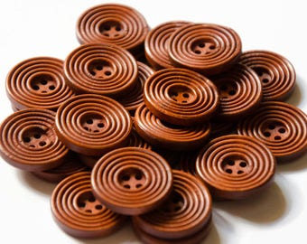 25mm Geometric Buttons - 12 Ring Round Buttons - Medium Large Sewing Buttons - Red Brown Buttons - Circles Button - Four Hole Jacket Buttons