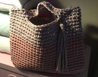 Trendy crochet tote with tassel