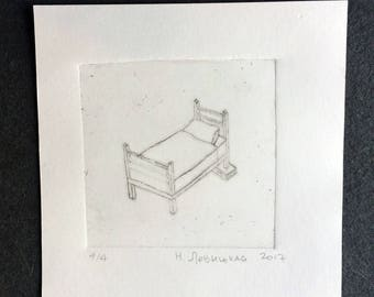 Tiny Bed, graving on plexiglass, drypoint, wall art, picture