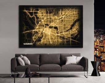 SACRAMENTO California Night Lights Map Large Horizontal Wall Art Map Sacramento CA Modern Art Neon City Street Map of Sacramento NLM