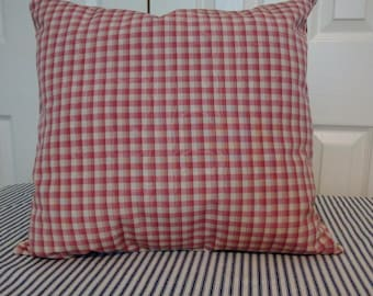 Checkered pattern in red, beige cushion, pillow