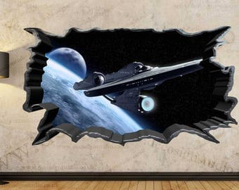 Star Trek Galaxy Spacecraft 3D Cracked Wall Effect Wall Sticker Art Decal  Mural 42A Part 52
