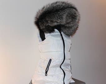 White Vest w/exaggerated Real Silver Fox Hood