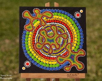Rainbow Splat Original  Dot Art Painting acrylic on canvas board