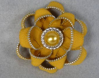 Yellow Flower Brooch - Zipper Pin - Upcycled, Recycled, Repurposed