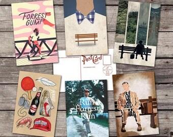 Forrest Gump set 6 postcards | tom hanks art poster | bubba gump shrimp| movie art poster | film art print |  cinema poster | PaperBunnyShop