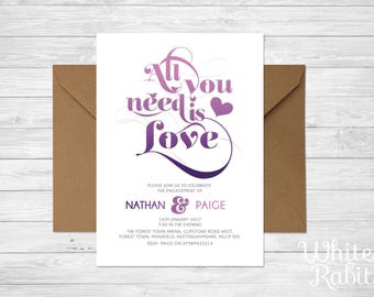 All You Need Is Love - Bespoke Engagement Invitations with envelopes