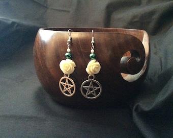 Rose and pentacle earrings