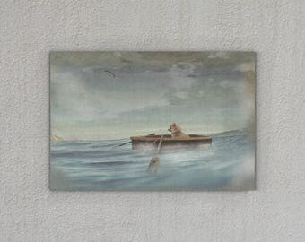 "Art print on canvas ""Chihuahua"" maritime, boat, dog"