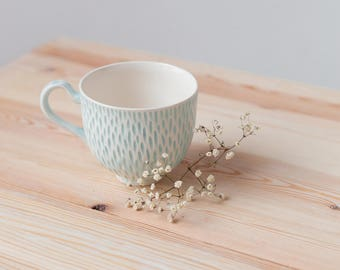 "Handmade porcelain cup ""Tenderness""- minimalist design - pastel colors - modern functional ceramics"