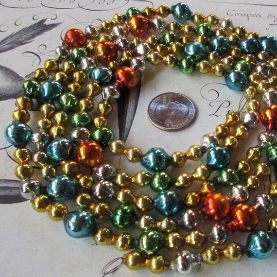 Vintage mercury glass bead garland christmas tree