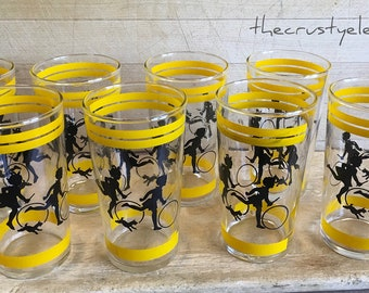 "Vintage Set of 8 Retro ""Dick and Jane"" Drinking Glasses Yellow White & Black"