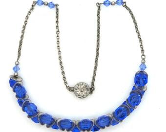 Nice Czechoslovakian Blue Glass and Silver Tone Gears Necklace