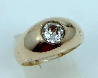 1920's Clark & Coombs Gold Filled Man's Bezel Set Ring