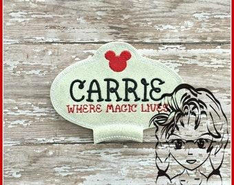 NaME TaG Center (Add On 5x7 ~ 1 Pc) Mr Miss Mouse Ears Headband ~ In the Hoop ~ Downloadable DiGiTaL Machine Embroidery Design by Carrie