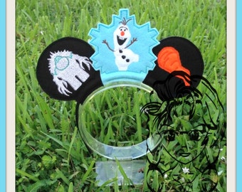 SNoWMAN Ice MoNSTER Inspired (4 Piece) Mr Miss Mouse Ears Headband ~ In the Hoop ~ Downloadable DiGiTaL Machine Emb Design by Carrie