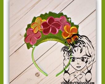 FLOWER PoLYNESiAN Hawaiian PRiNCESS CRoWN ~ In The Hoop Headband ~ Downloadable DiGiTaL Machine Embroidery Design by Carrie