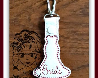 BRIDE DReSS Bridal Party - Key FOB Key Ring Snap Tab ~ In The Hoop ~ Downloadable DiGiTaL Machine Embroidery Design by Carrie