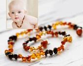 Baltic Amber Teething   Baltic Amber Necklace Teething    Polish Amber Beads   Rainbow Amber Necklace   Natural Baby Gift   Rainbow baby