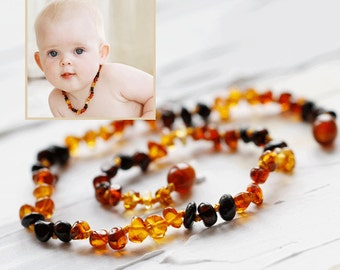Baltic Amber Teething | Baltic Amber Necklace Teething  | Polish Amber Beads | Rainbow Amber Necklace | Natural Baby Gift | Rainbow baby
