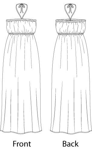 Halter Tube Maxi Dress with Knee Length Option  Sewing Pattern - Sizes 8-22 UK - Download PDF
