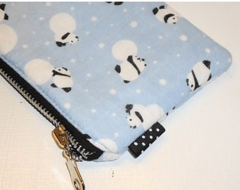 SALE SALE SALE - 20% Off Panda & Snowball Zippy Pouch / Modern Japanese Cosmetic Bag / Card Holder / Phone and Camera Case / Coin Purse -- O