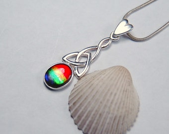 Ammolite pendant.Grade AA 4 Colour.Ancient Celtic design.Heart delivers a message.