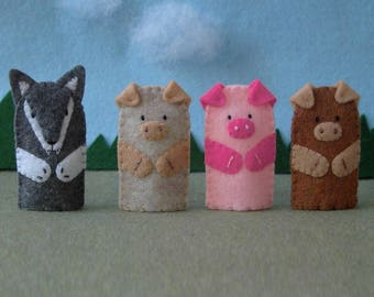 Three Little Pigs and the Big Bad Wolf Puppet Set - 3 Pigs Puppet Set - Felt Finger Puppet Set - 3 Little Pigs Finger Puppets
