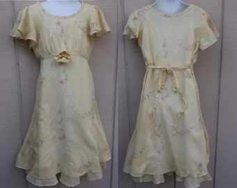 Vintage DAISY KINGDOM Girl's Yellow Floral Dress / Tie-back Party Frock / sz 6/7