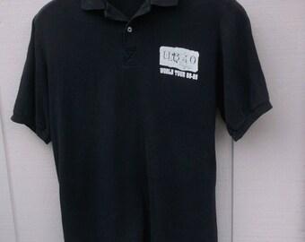 Vintage 80s UB40 Concert World Tour Golf Shirt / 50/50 Stedman / 1988 - 1989 / size Men's Lge 42 - 44