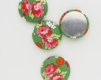 Floral Fabric Flat Backs 1.25 Inch |  Rose print fabric cabochons for making textile jewelry, magnets, brooches, etc.