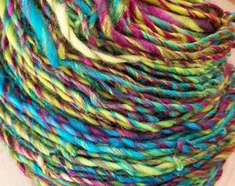 SW Merino Wool/Tussah Silk RockStar Handspun Yarn - 172 yds - I'll Tumble For Ya colorway
