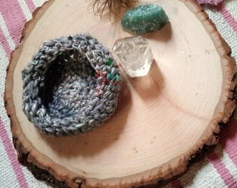 Graffiti Scrap Decorative Bowl - hand dyed, hand spun crocheted catch-all bowl in grey with vivid color threads