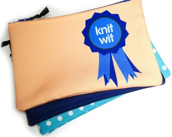 Zipper Bag, Project bag, Knit Wit Blue Ribbon