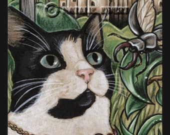 Cat Illustration Print Tuxedo Cat Art Cat Wall Art Cat Lover Gift Cat Art Print Wall Decor Summer Print Gift for Her Beetle Print Cat Gift