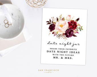 Date Night Jar Ideas Sign | 8x10 | Floral, Gold, Calligraphy, Red - Holly collection - Printable, Digital File - PDF