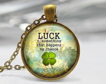 Lucky pendant etsy four leaf clover pendant lucky pendant st patricks day necklace clover jewelry mozeypictures Gallery