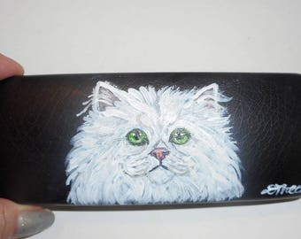 White  Persian Cat Hand Painted Eyeglass Case Vegan