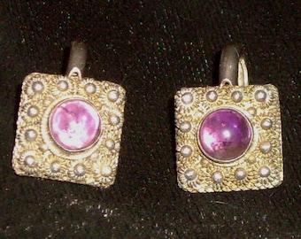 Vintage Sterling Silver Amethyst Purple Clip Earrings FINAL SALE