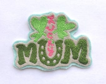 Lucky Mum | iron on clover patch | mom flair | cutenew mom gift! | baby shower gift for mom | cute pregnancy gift