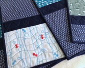 Japanese Tenugui Quilted Placemats - set of 4 - no.8