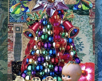 Surreal Holiday Cards, greeting cards, Christmas cards, Christmas, unusual cards, embellished cards, cards,colorful cards, surreal art cards