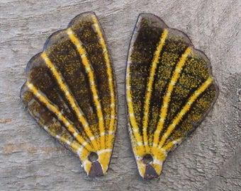 Yellow and Black Enamel Butterfly Wings