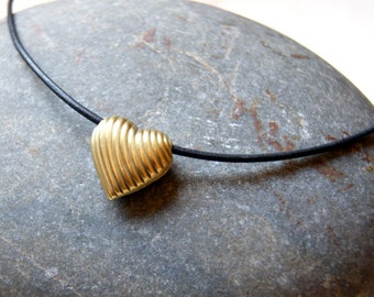 Brass Heart Necklace - Heart Choker- Heart Necklace - vintage brass heart pendant  - black leather cord