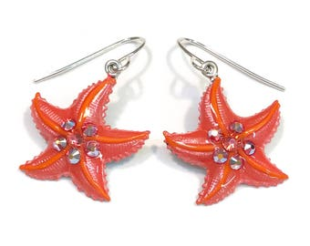 Starfish Earrings  Pearlized Coral and Orange with Crystal Accents