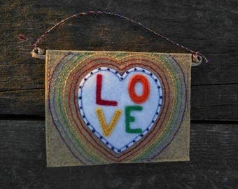 LOVE, Rainbow Love, Mini Wallhanging, Mother's Day, Heart of Love, Housewarming Gift, Fiber Art, Embroidery Art