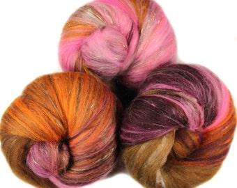 Cacao - classic batts -- (4.2 oz.) organic polwarth wool, bamboo, yak, silk, sparkle.