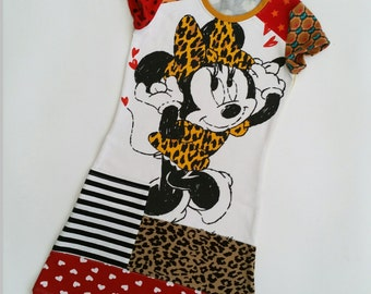 Size 7 upcycled girls minnie pocketdress, girls clothing, children's clothing,kidsclothes, kidswear, girls, disney, upcycling, cute, dress