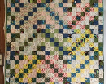 Quilted Wall Hanging or Lap Quilt Blanket ready to ship in Blue Green and Yellow colors great for Primitive Country Decor or Baby Quilt
